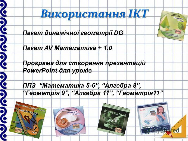 Використання ІКТ Пакет динамічної геометрії DG Пакет AV Математика + 1.0 Програма для створення презентацій PowerPoint для уроків ППЗ Математика 5-6, Алгебра 8, Геометрія 9, Алгебра 11, Геометрія11