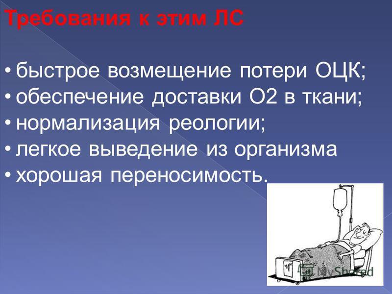 Требования к этим ЛС быстрое возмещение потери ОЦК; обеспечение доставки О2 в ткани; нормализация реологии; легкое выведение из организма хорошая переносимость.