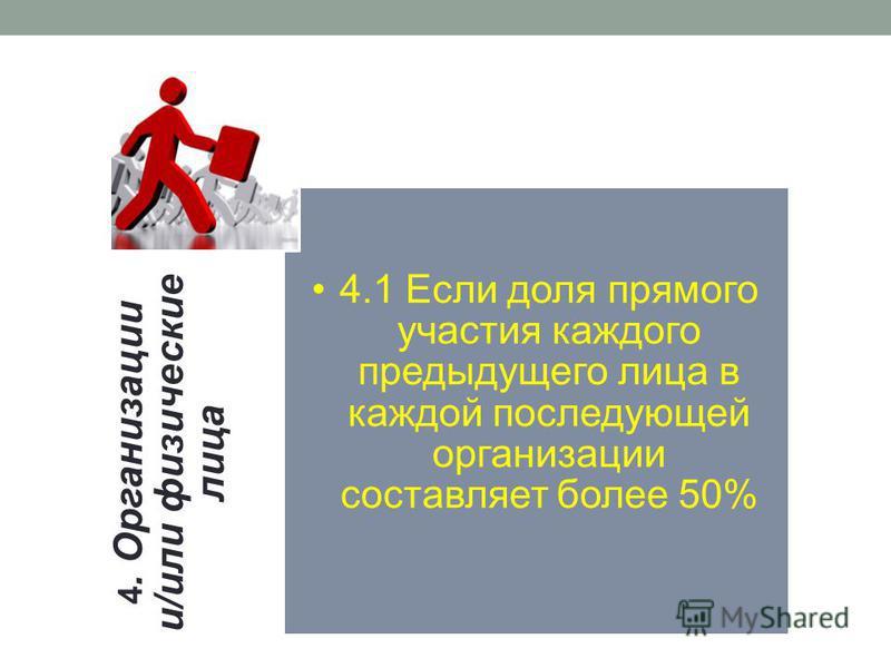 4. Организации и/или физические лица 4.1 Если доля прямого участия каждого предыдущего лица в каждой последующей организации составляет более 50%