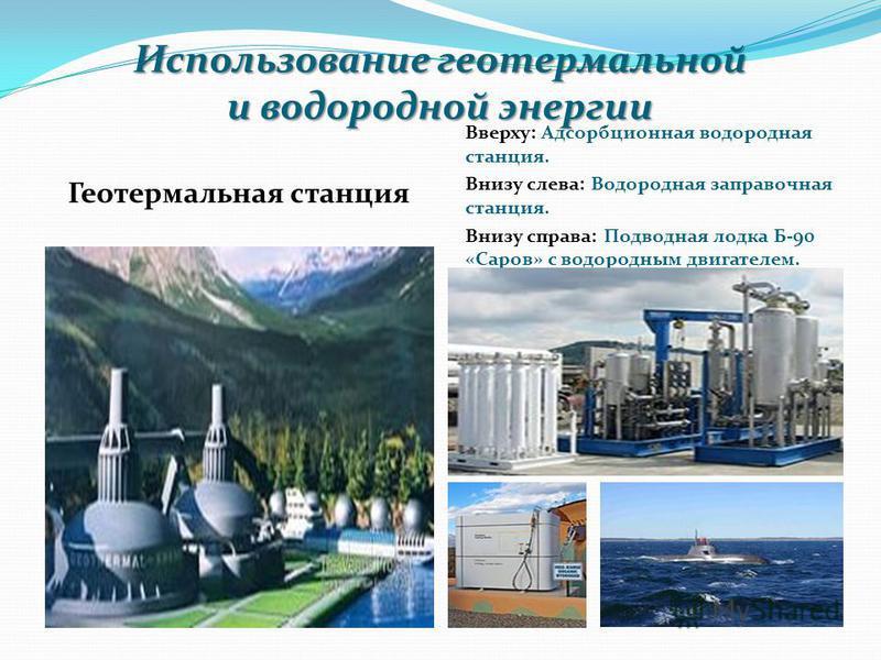 Использование геотермальной и водородной энергии Геотермальная станция Вверху: Адсорбционная водородная станция. Внизу слева: Водородная заправочная станция. Внизу справа: Подводная лодка Б-90 «Саров» с водородным двигателем.