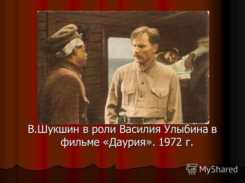 В.Шукшин в роли Василия Улыбина в фильме «Даурия». 1972 г.