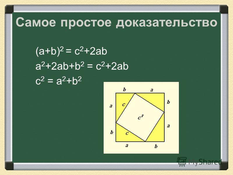 Самое простое доказательство (a+b) 2 = c 2 +2ab a 2 +2ab+b 2 = c 2 +2ab c 2 = a 2 +b 2