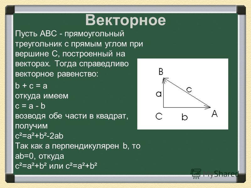 Векторное Пусть АВС - прямоугольный треугольник с прямым углом при вершине С, построенный на векторах. Тогда справедливо векторное равенство: b + c = a откуда имеем c = a - b возводя обе части в квадрат, получим c²=a²+b²-2ab Так как a перпендикулярен