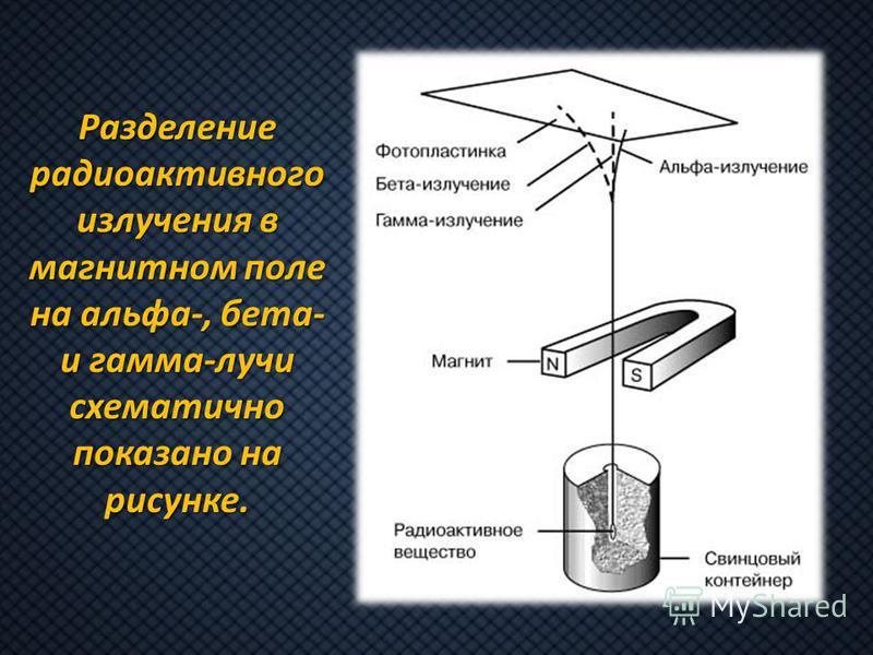 Разделение радиоактивного излучения в магнитном поле на альфа-, бета- и гамма-лучи схематично показано на рисунке.