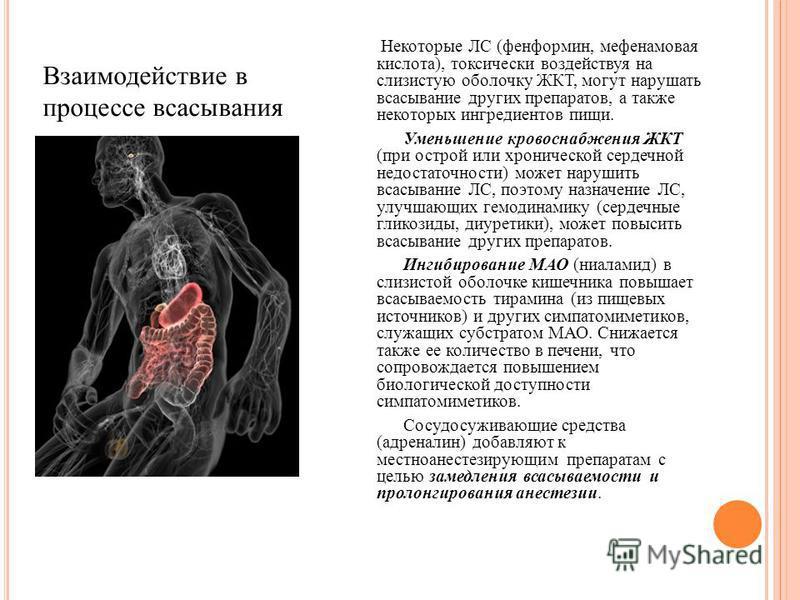 Некоторые ЛС (фенформин, мефенамовая кислота), токсически воздействуя на слизистую оболочку ЖКТ, могут нарушать всасывание других препаратов, а также некоторых ингредиентов пищи. Уменьшение кровоснабжения ЖКТ (при острой или хронической сердечной нед