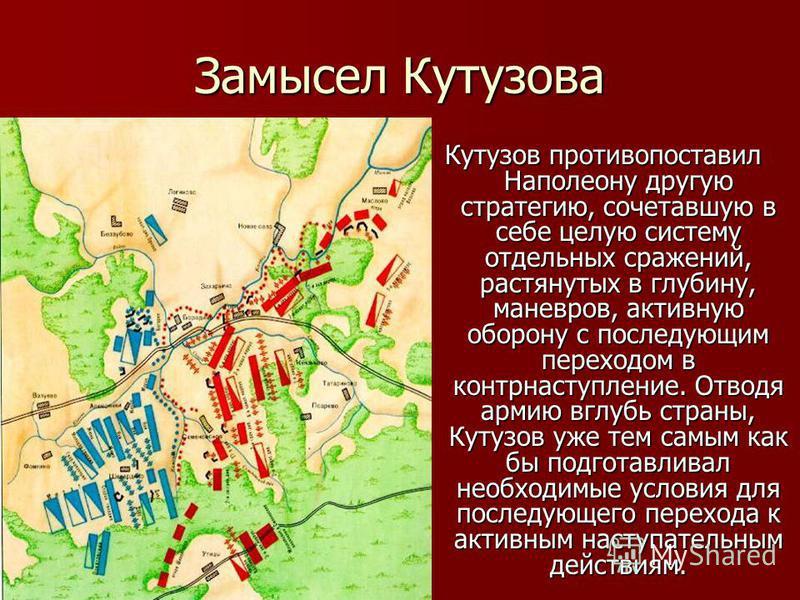 Замысел Кутузова Кутузов противопоставил Наполеону другую стратегию, сочетавшую в себе целую систему отдельных сражений, растянутых в глубину, маневров, активную оборону с последующим переходом в контрнаступление. Отводя армию вглубь страны, Кутузов