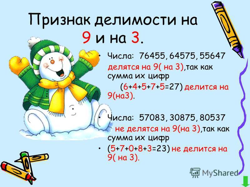 Признак делимости на 9 и на 3. Числа: 76455, 64575, 55647 делятся на 9( на 3),так как сумма их цифр (6+4+5+7+5=27) делится на 9(на 3). Числа: 57083, 30875, 80537 не делятся на 9(на 3),так как сумма их цифр (5+7+0+8+3=23) не делится на 9( на 3).