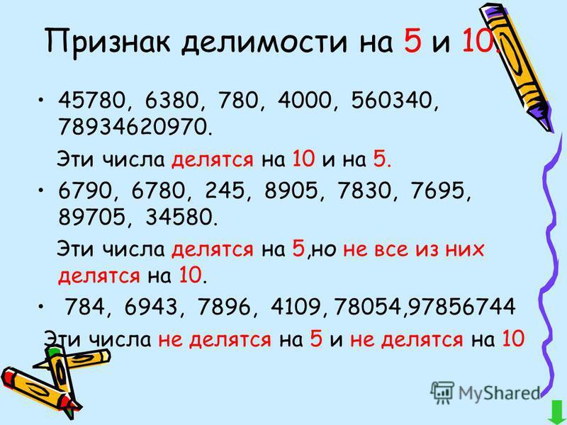 Признак делимости на 5 и 10. 45780, 6380, 780, 4000, 560340, 78934620970. Эти числа делятся на 10 и на 5. 6790, 6780, 245, 8905, 7830, 7695, 89705, 34580. Эти числа делятся на 5,но не все из них делятся на 10. 784, 6943, 7896, 4109, 78054,97856744 Эт
