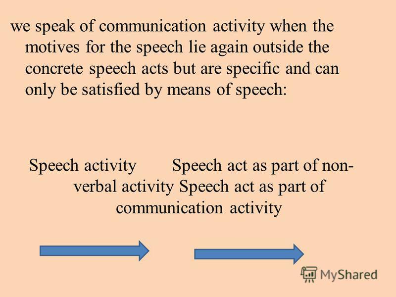 we speak of communication activity when the motives for the speech lie again outside the concrete speech acts but are specific and can only be satisfied by means of speech: Speech activity Speech act as part of non- verbal activity Speech act as part