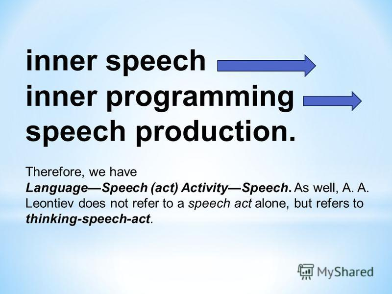 inner speech inner programming speech production. Therefore, we have LanguageSpeech (act) ActivitySpeech. As well, A. A. Leontiev does not refer to a speech act alone, but refers to thinking-speech-act.