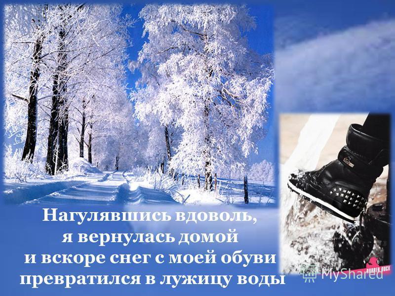 Нагулявшись вдоволь, я вернулась домой и вскоре снег с моей обуви превратился в лужицу воды