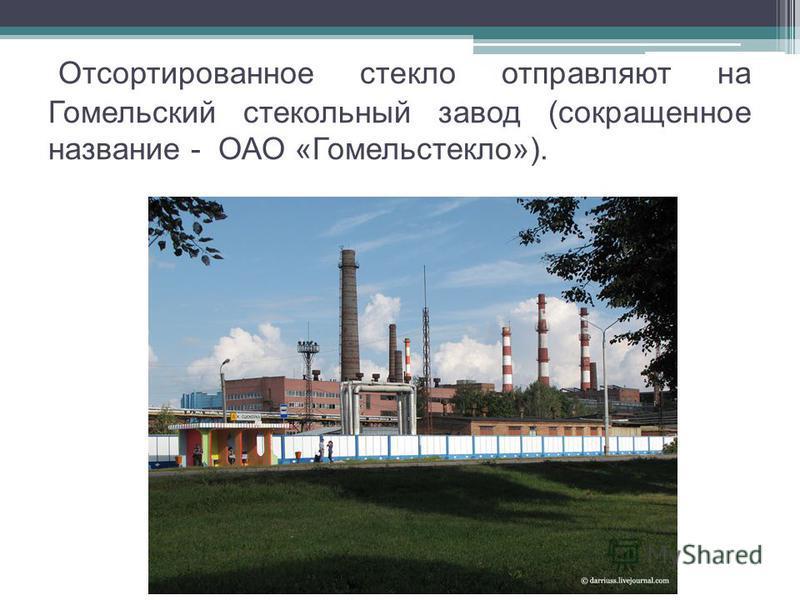 Отсортированное стекло отправляют на Гомельский стекольный завод (сокращенное название - ОАО «Гомельстекло»).