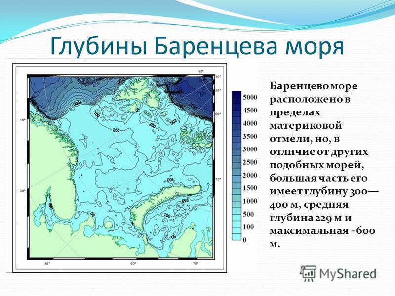 Глубины Баренцева моря Баренцево море расположено в пределах материковой отмели, но, в отличие от других подобных морей, большая часть его имеет глубину 300 400 м, средняя глубина 229 м и максимальная - 600 м.