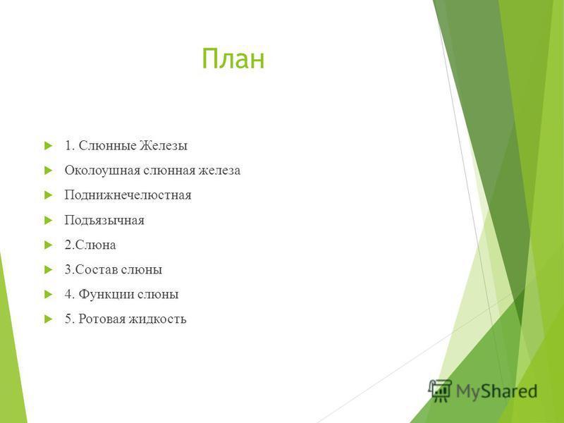 План 1. Слюнные Железы Околоушная слюнная железа Поднижнечелюстная Подъязычная 2. Слюна 3. Состав слюны 4. Функции слюны 5. Ротовая жидкость