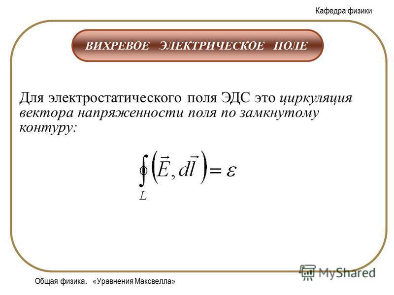 Кафедра физики Общая физика. «Уравнения Максвелла» ВИХРЕВОЕ ЭЛЕКТРИЧЕСКОЕ ПОЛЕ Для электростатического поля ЭДС это циркуляция вектора напряженности поля по замкнутому контуру: