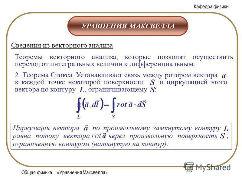 Кафедра физики Общая физика. «Уравнения Максвелла» УРАВНЕНИЯ МАКСВЕЛЛА Сведения из векторного анализа Теоремы векторного анализа, которые позволят осуществить переход от интегральных величин к дифференциальным: 2. Теорема Стокса. Устанавливает связь
