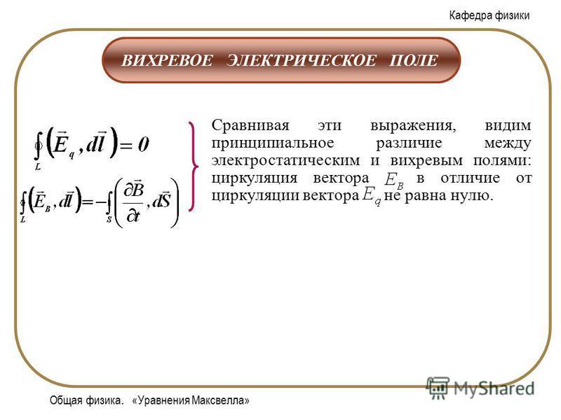 Кафедра физики Общая физика. «Уравнения Максвелла» ВИХРЕВОЕ ЭЛЕКТРИЧЕСКОЕ ПОЛЕ Сравнивая эти выражения, видим принципиальное различие между электростатическим и вихревым полями: циркуляция вектора в отличие от циркуляции вектора не равна нулю.