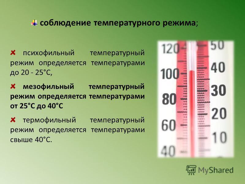 психрофильный температурный режим определяется температурами до 20 - 25°C, мезофильный температурный режим определяется температурами от 25°C до 40°C термофильный температурный режим определяется температурами свыше 40°C. соблюдение температурного ре