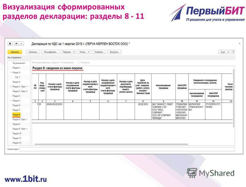 Визуализация сформированных разделов декларации: разделы 8 - 11