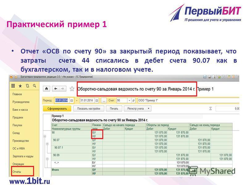 Отчет «ОСВ по счету 90» за закрытый период показывает, что затраты счета 44 списались в дебет счета 90.07 как в бухгалтерском, так и в налоговом учете. Практический пример 1