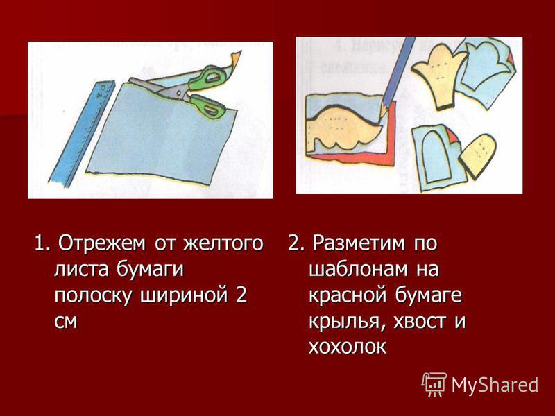 1. Отрежем от желтого листа бумаги полоску шириной 2 см 2. Разметим по шаблонам на красной бумаге крылья, хвост и хохолок