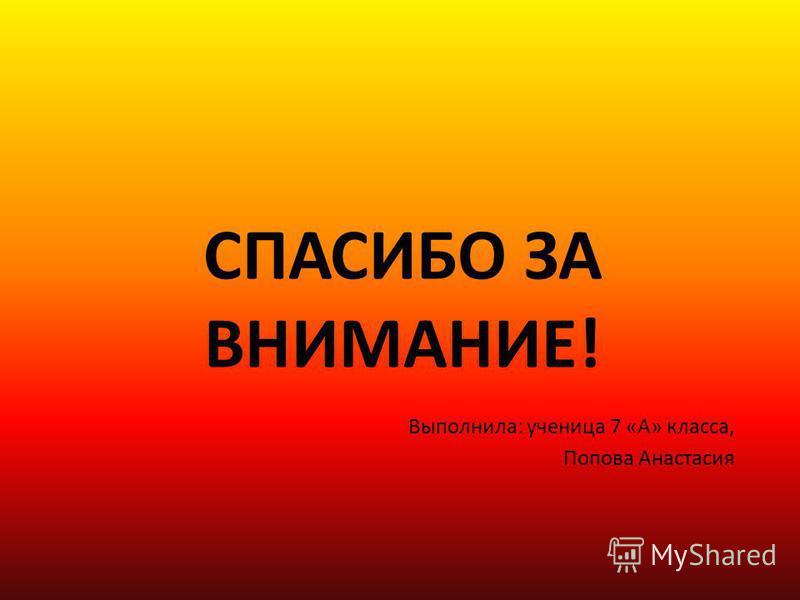 СПАСИБО ЗА ВНИМАНИЕ! Выполнила: ученица 7 «А» класса, Попова Анастасия