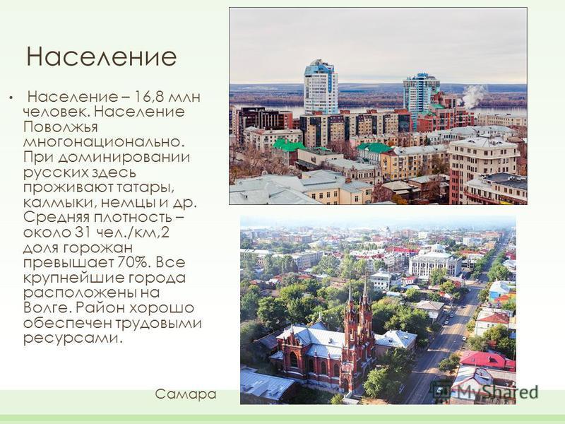 Население Население – 16,8 млн человек. Население Поволжья многонационально. При доминировании русских здесь проживают татары, калмыки, немцы и др. Средняя плотность – около 31 чел./км,2 доля горожан превышает 70%. Все крупнейшие города расположены н