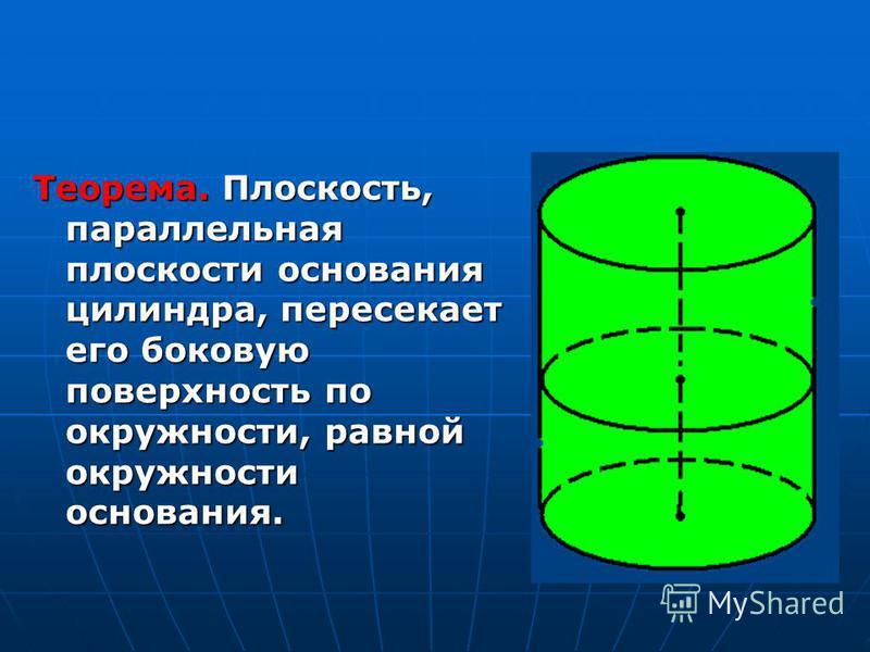 Теорема. Плоскость, параллельная плоскости основания цилиндра, пересекает его боковую поверхность по окружности, равной окружности основания.