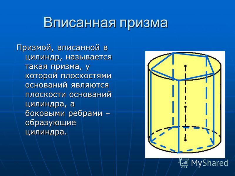 Вписанная призма Призмой, вписанной в цилиндр, называется такая призма, у которой плоскостями оснований являются плоскости оснований цилиндра, а боковыми ребрами – образующие цилиндра.