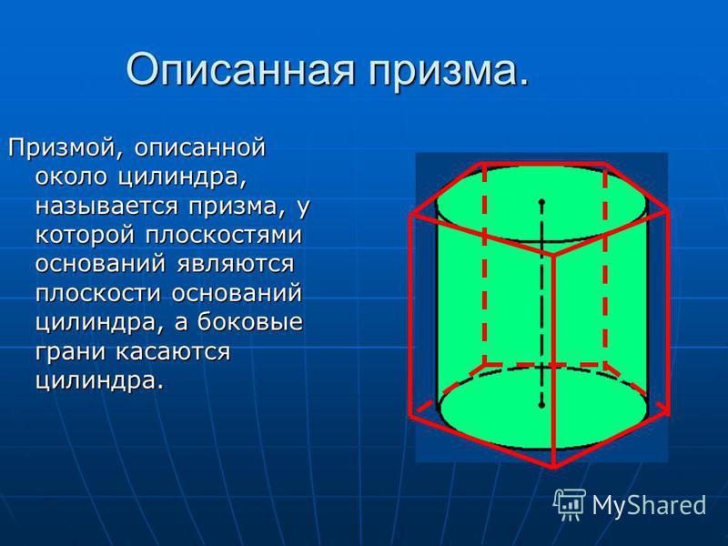 Описанная призма. Призмой, описанной около цилиндра, называется призма, у которой плоскостями оснований являются плоскости оснований цилиндра, а боковые грани касаются цилиндра.