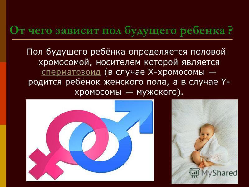 От чего зависит пол будущего ребенка ? Пол будущего ребёнка определяется половой хромосомой, носителем которой является сперматозоид (в случае X-хромосомы родится ребёнок женского пола, а в случае Y- хромосомы мужского).