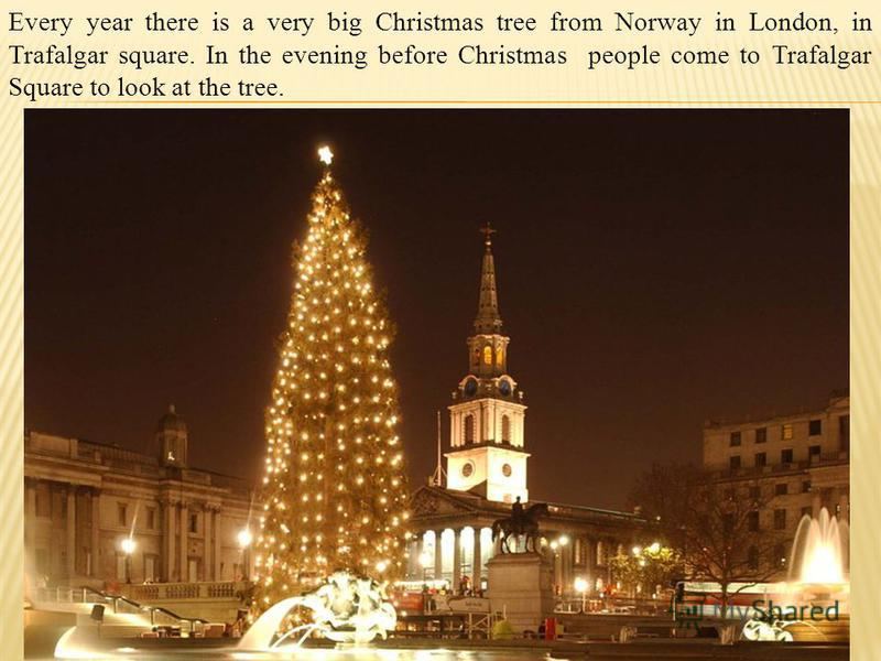 Every year there is a very big Christmas tree from Norway in London, in Trafalgar square. In the evening before Christmas people come to Trafalgar Square to look at the tree.