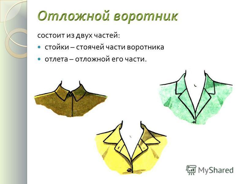 состоит из двух частей : стойки – стоячей части воротника отлета – отложной его части.