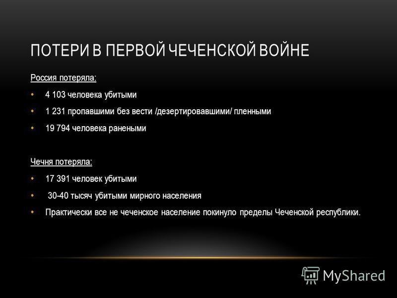 ПОТЕРИ В ПЕРВОЙ ЧЕЧЕНСКОЙ ВОЙНЕ Россия потеряла: 4 103 человека убитыми 1 231 пропавшими без вести /дезертировавшими/ пленными 19 794 человека ранеными Чечня потеряла: 17 391 человек убитыми 30-40 тысяч убитыми мирного населения Практически все не че