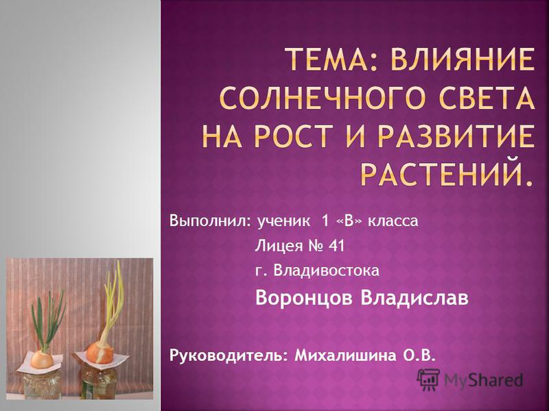 Выполнил: ученик 1 «В» класса Лицея 41 г. Владивостока Воронцов Владислав Руководитель: Михалишина О.В.
