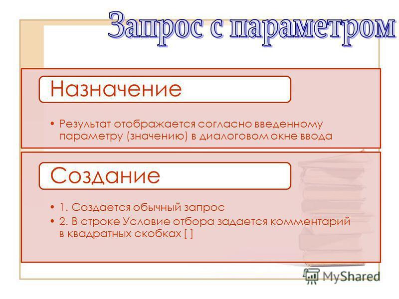 Результат отображается согласно введенному параметру (значению) в диалоговом окне ввода Назначение 1. Создается обычный запрос 2. В строке Условие отбора задается комментарий в квадратных скобках [ ] Создание