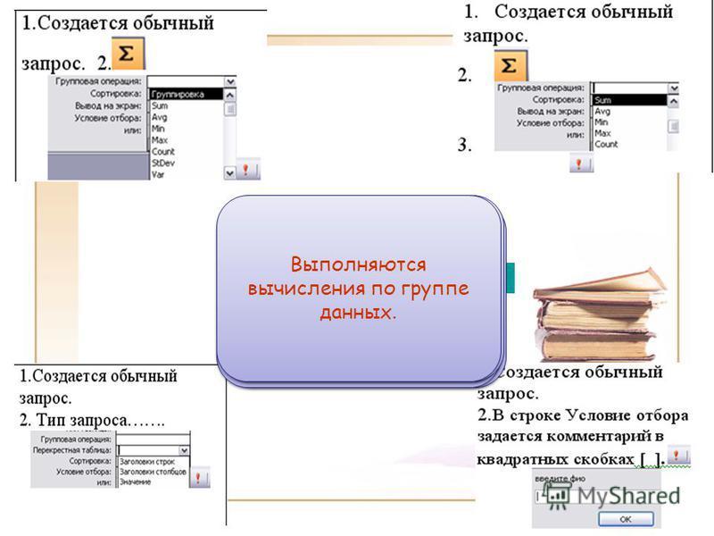 Повторение Групповой запрос Запрос с параметром Перекрестный запрос Итоговый запрос Результат отображается согласно введенному параметру (значению) в диалоговом окне ввода Результат отображается в виде таблицы с изменением ее макета, группировкой дан