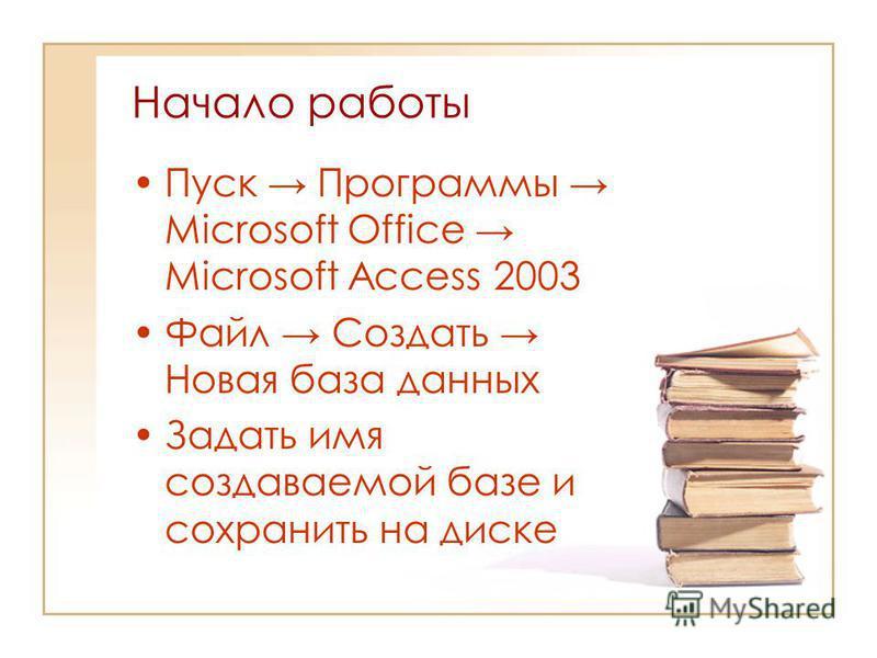 Начало работы Пуск Программы Microsoft Office Microsoft Access 2003 Файл Создать Новая база данных Задать имя создаваемой базе и сохранить на диске