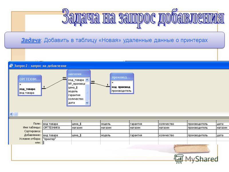 Задача: Добавить в таблицу «Новая» удаленные данные о принтерах