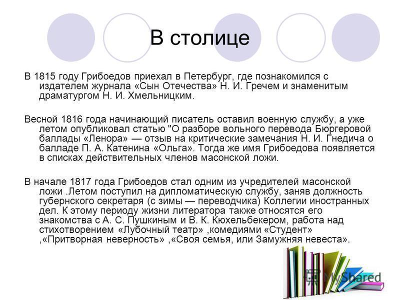 В столице В 1815 году Грибоедов приехал в Петербург, где познакомился с издателем журнала «Сын Отечества» Н. И. Гречем и знаменитым драматургом Н. И. Хмельницким. Весной 1816 года начинающий писатель оставил военную службу, а уже летом опубликовал ст