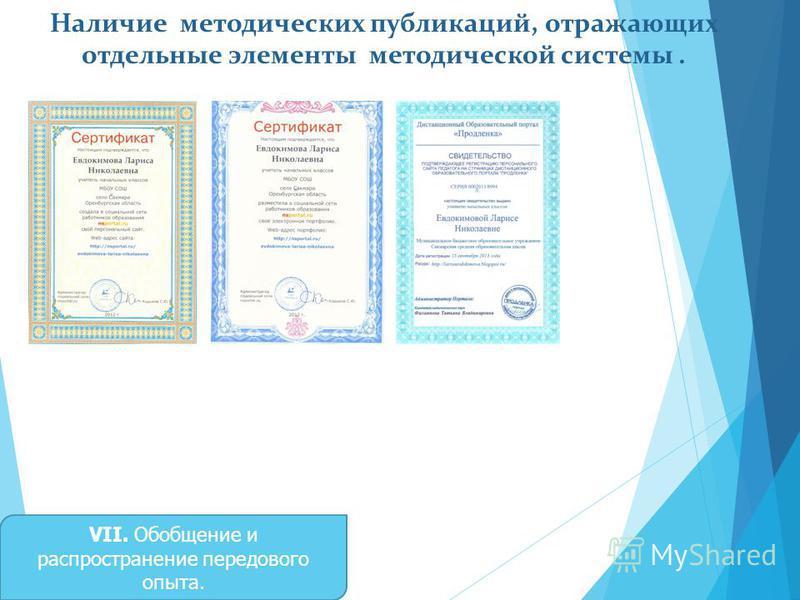 Наличие методических публикаций, отражающих отдельные элементы методической системы. VII. Обобщение и распространение передового опыта.