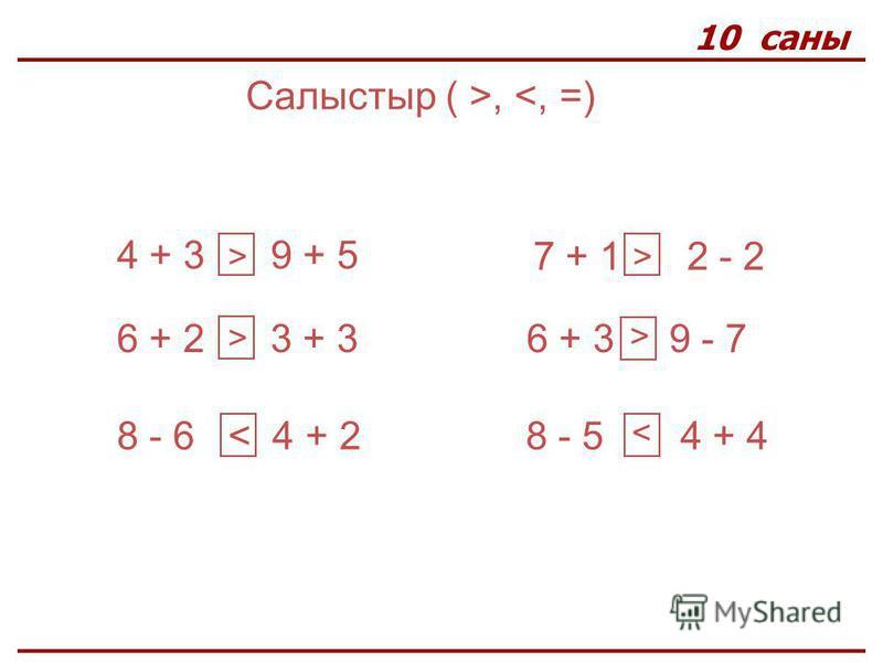 10 саны Салыстыр ( >, <, =) 4 + 3 9 + 5 6 + 2 3 + 3 8 - 6 < 4 + 2 7 + 1 2 - 2 6 + 3 9 - 7 8 - 5 4 + 4 > > > < >