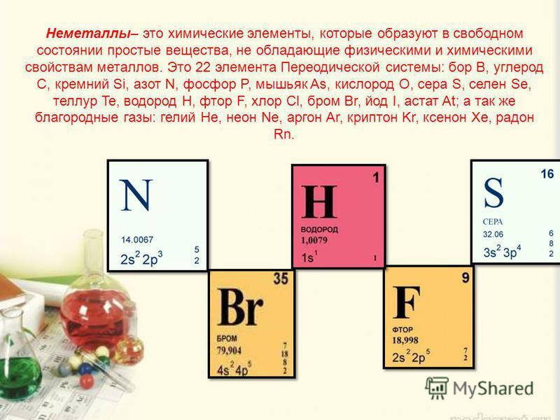 Неметаллы– это химические элементы, которые образуют в свободном состоянии простые вещества, не обладающие физическими и химическими свойствам металлов. Это 22 элемента Переодической системы: бор B, углерод C, кремний Si, азот N, фосфор P, мышьяк As,