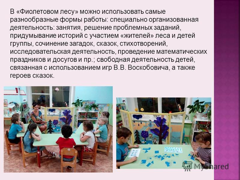В «Фиолетовом лесу» можно использовать самые разнообразные формы работы: специально организованная деятельность: занятия, решение проблемных заданий, придумывание историй с участием «жителей» леса и детей группы, сочинение загадок, сказок, стихотворе