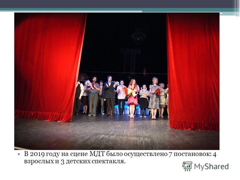 В 2019 году на сцене МДТ было осуществлено 7 постановок: 4 взрослых и 3 детских спектакля.