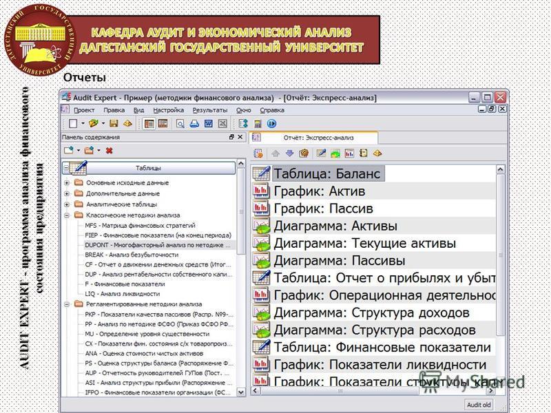 AUDIT EXPERT - программа анализа финансового состояния предприятия Отчеты