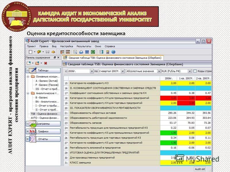 AUDIT EXPERT - программа анализа финансового состояния предприятия Оценка кредитоспособности заемщика