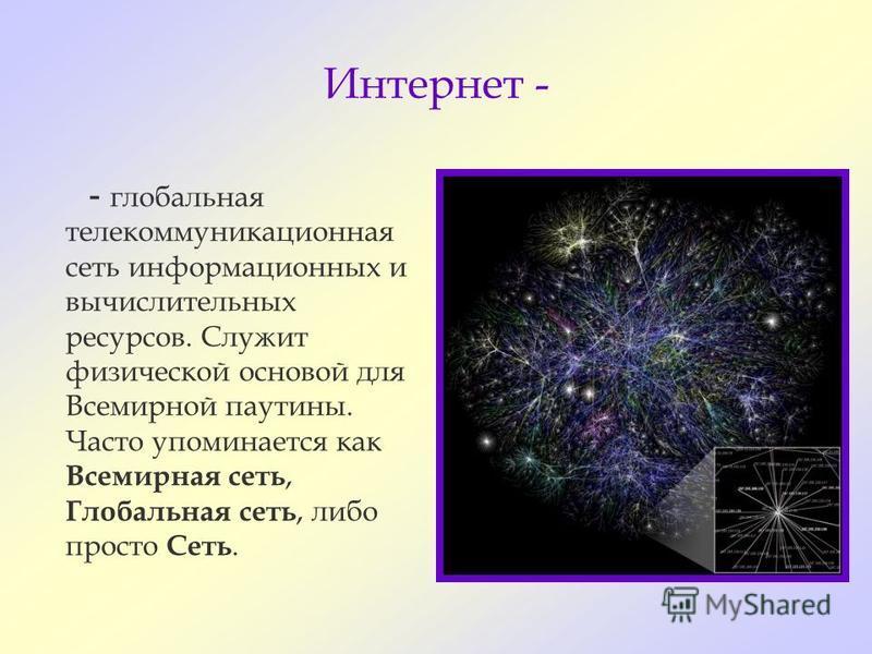 Интернет - - глобальная телекоммуникационная сеть информационных и вычислительных ресурсов. Служит физической основой для Всемирной паутины. Часто упоминается как Всемирная сеть, Глобальная сеть, либо просто Сеть.