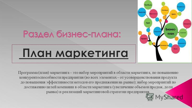 Программа (план) маркетинга - это набор мероприятий в области маркетинга, по повышению конкурентоспособности предприятия (во всех элементах - от усовершенствования продукта до повышения эффективности методов его продвижения на рынке); набор мероприят