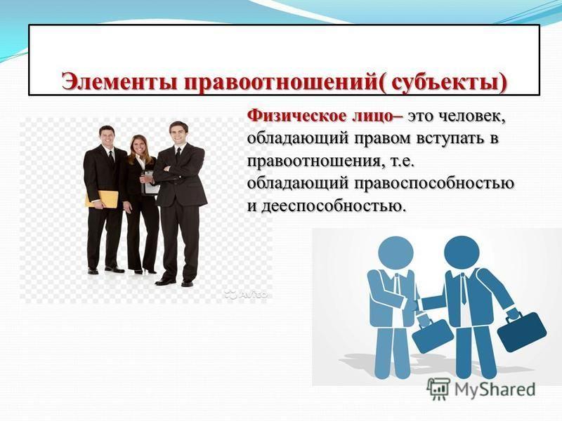 Элементы правоотношений( субъекты) Физическое лицо– это человек, обладающий правом вступать в правоотношения, т.е. обладающий правоспособностью и дееспособностью.
